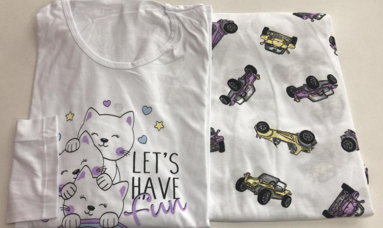 Pijama Feminino Adulto Lua Encantada Manga Longa  Gatinho cars  361 em 100% algodão