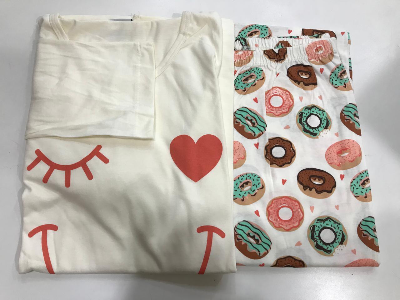 Pijama Feminino Adulto Lua Encantada Manga Longa sorriso Donuts com 433 em 100% algodão
