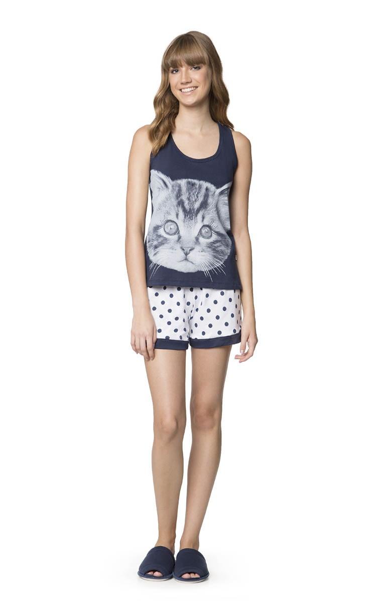 771c0059d Pijama Feminino Adulto Lua Encantada Short Doll em Algodão - Gatinho ...