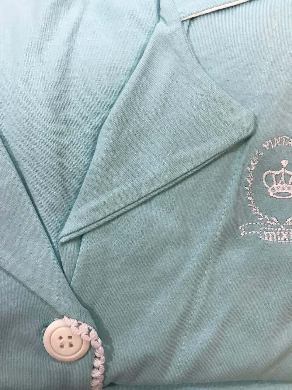 Pijama Feminino Adulto Mixte Blusa 3/4 e bermuda Algodão 7931 - Verde Água