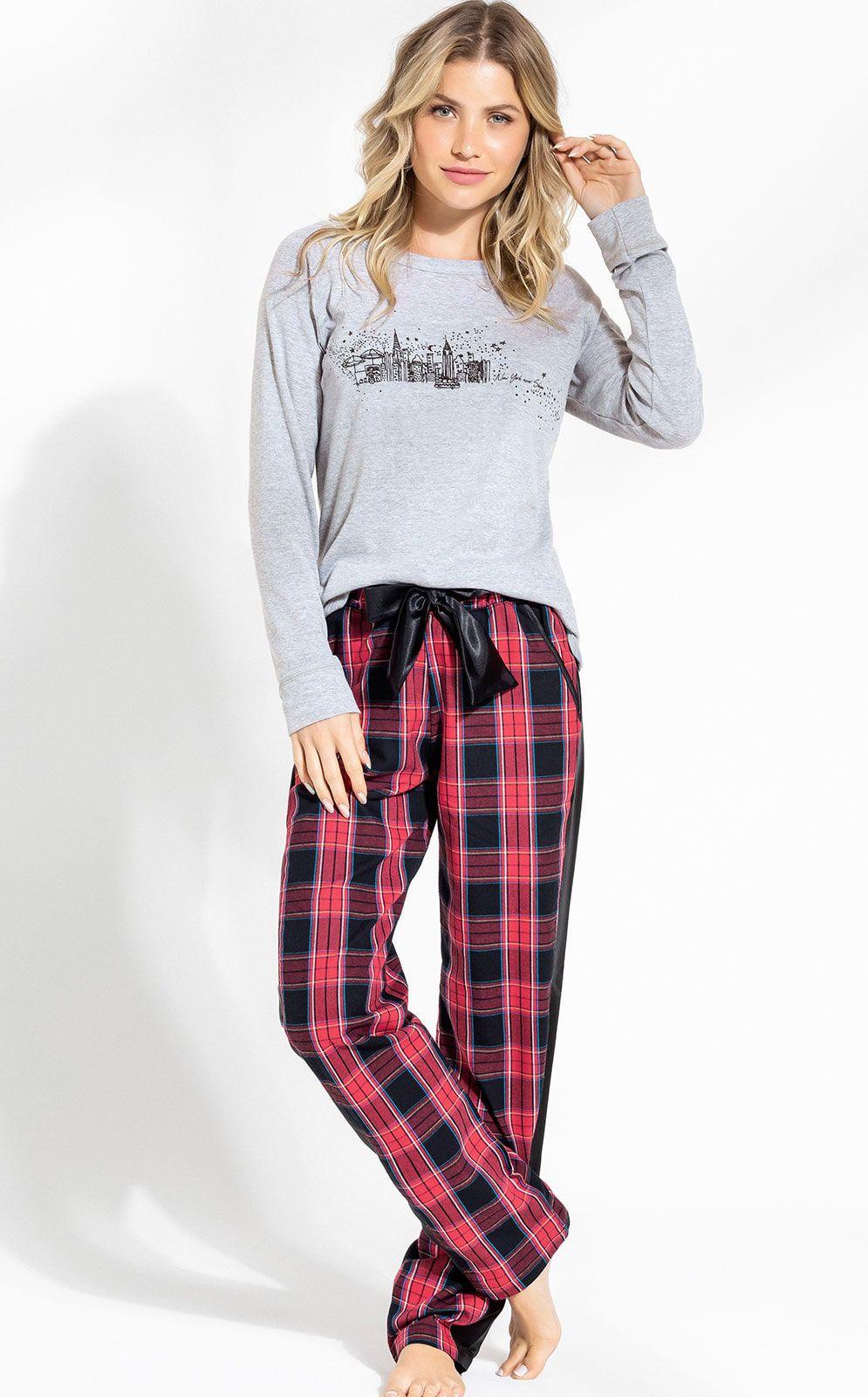 Pijama Feminino Adulto Mixte Blusa Manga Longa com Calça  Xadrez Premium 9687