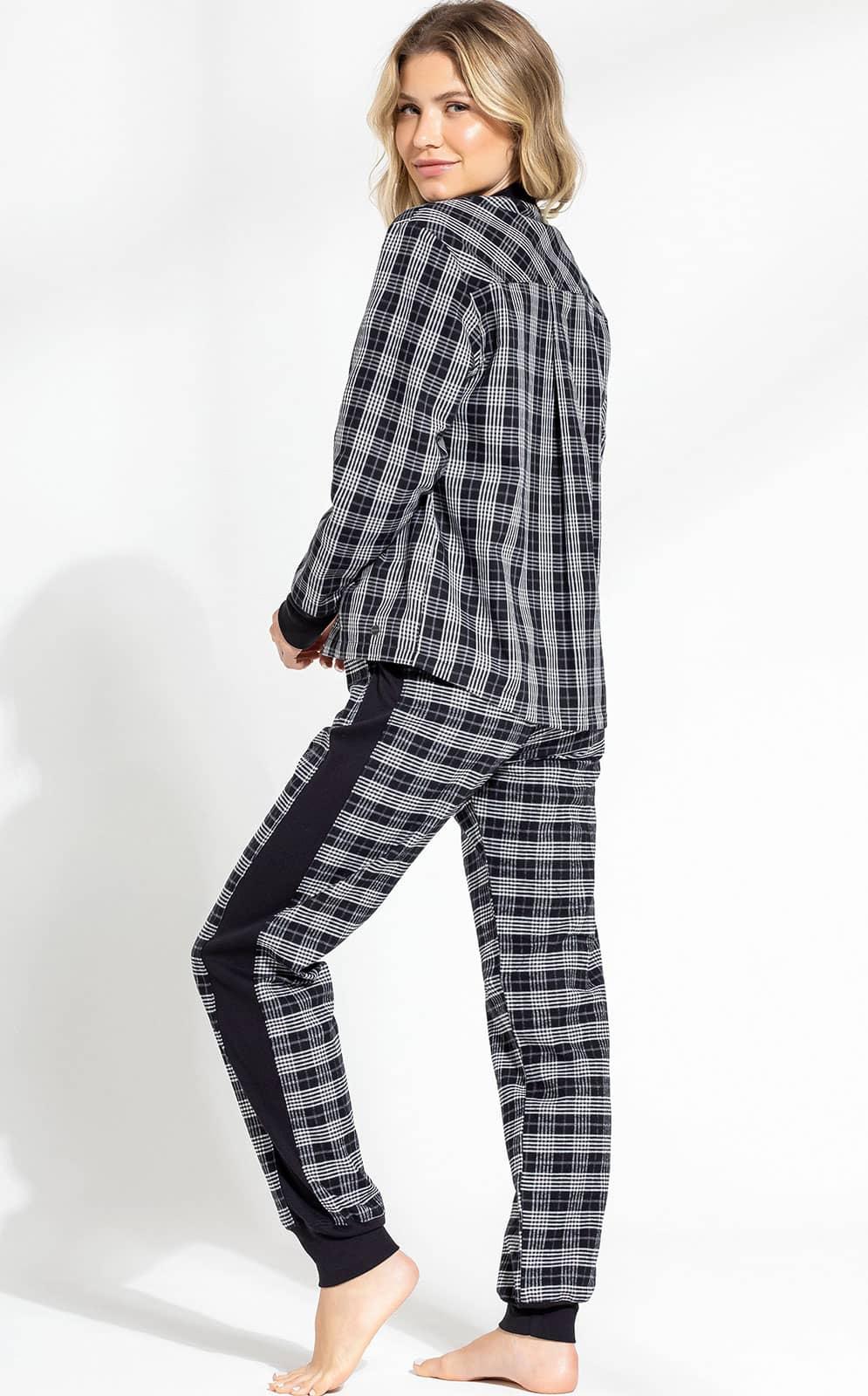 Pijama Feminino Adulto Mixte Blusa com Calça todo em Flanela com cetim Xadrez Linha Premium 9616