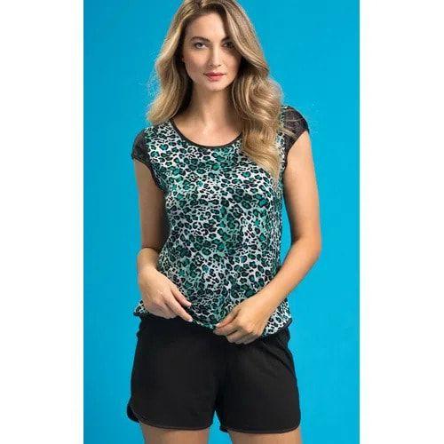 Pijama Feminino Adulto Mixte Blusa com Shorts em Liganete com Modal 8692