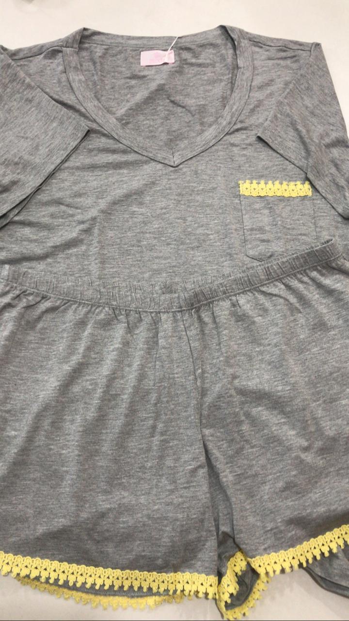 Pijama Feminino Adulto Mixte Blusa com Shorts em Modal 7786