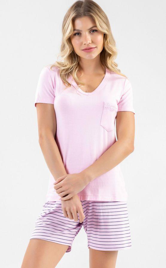 Pijama Feminino Adulto Mixte Blusa com shorts em Tecido Modal 9229