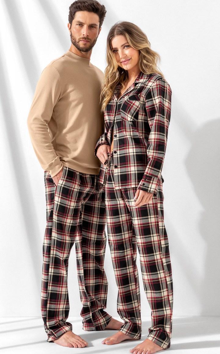Pijama Feminino Adulto Mixte Cardigan com Calça em Flanela Premium Nude 9950