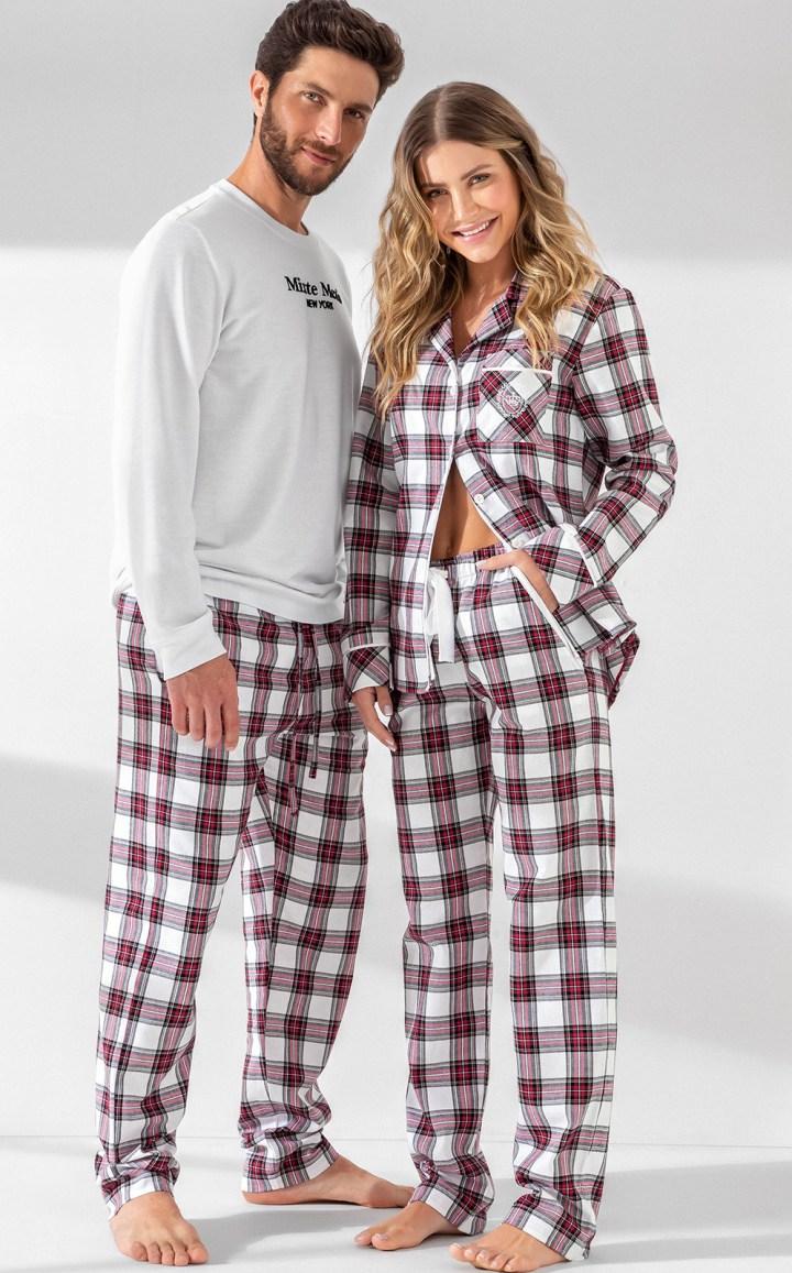 Pijama Feminino Adulto Mixte Cardigan com Calca Xadrez em Flanela Branco 9940