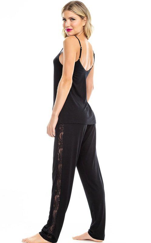 Pijama Feminino Adulto Mixte de Alça com Calça Luxo Preto 9535