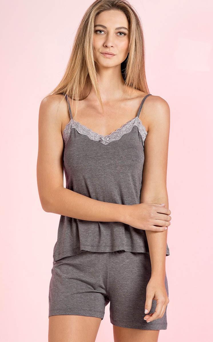 Pijama Feminino Adulto Mixte em Modal de Alça com Short - Mescla Escuro ou Cáqui