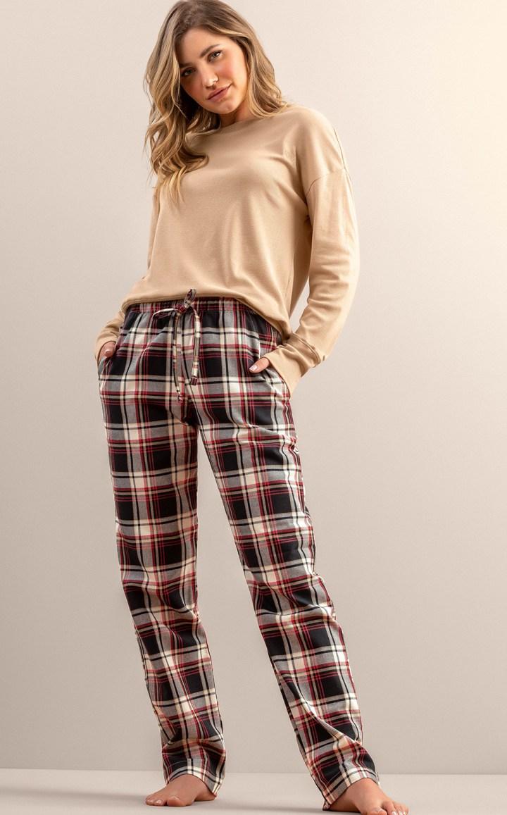 Pijama Feminino Adulto Mixte Manga longa com Calça Xadrez em Flanela  Premium 9951