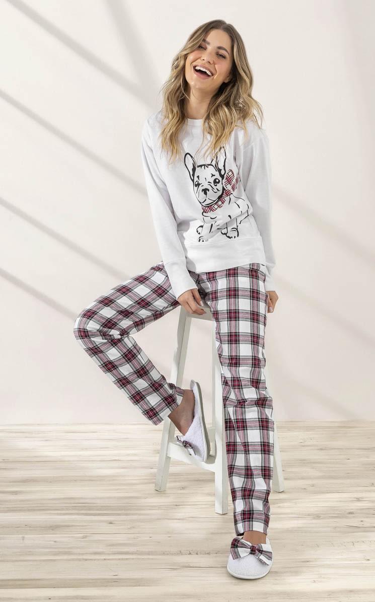 Pijama Feminino Adulto Mixte Moletom Bulldog com Flanela Xadrez 9941
