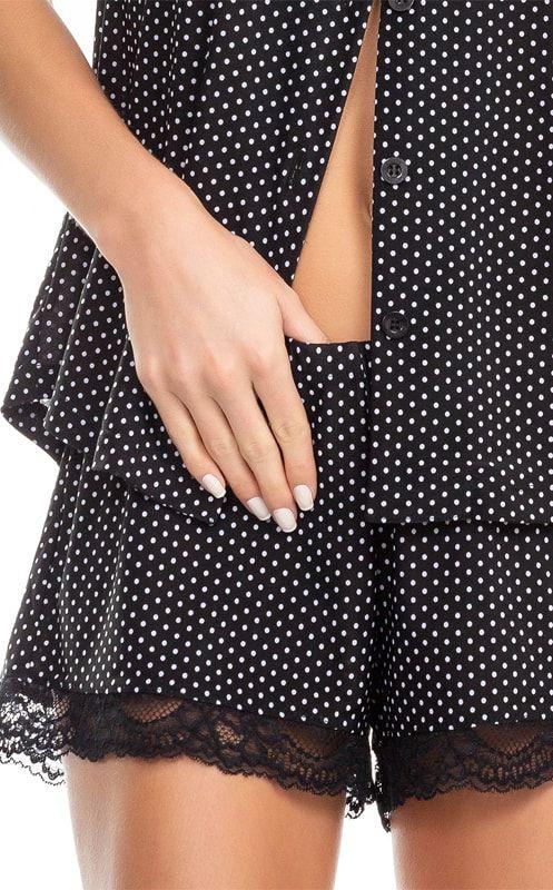 Pijama Feminino Adulto Mixte Preto com Bolinhas Brancas Manga Curta e Shorts