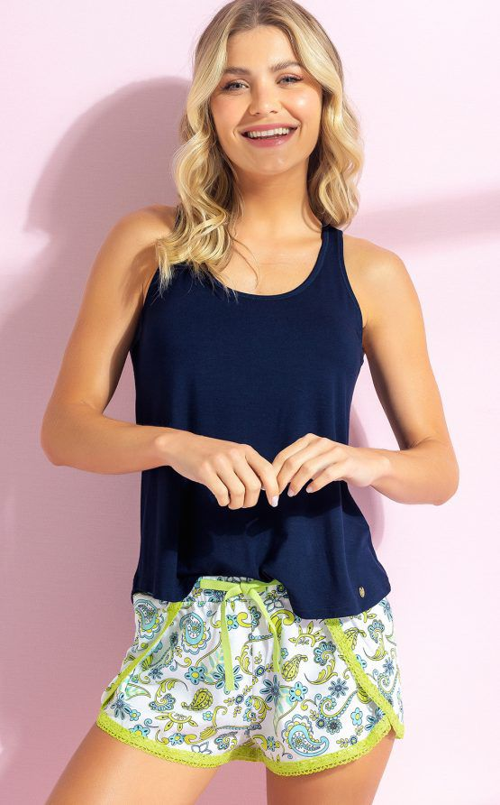 Pijama Feminino Adulto Mixte Regata Modal Lisa e Short Algodão Estampado