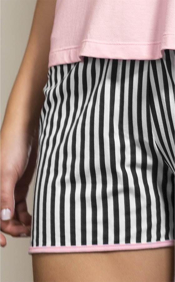Pijama Feminino Adulto Mixte Short Doll com Alça Black/White e Rosa Bebê