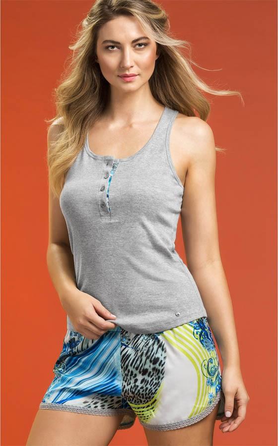 Pijama Feminino Adulto Mixte Short Doll Regata com Short de Cetim Estampado
