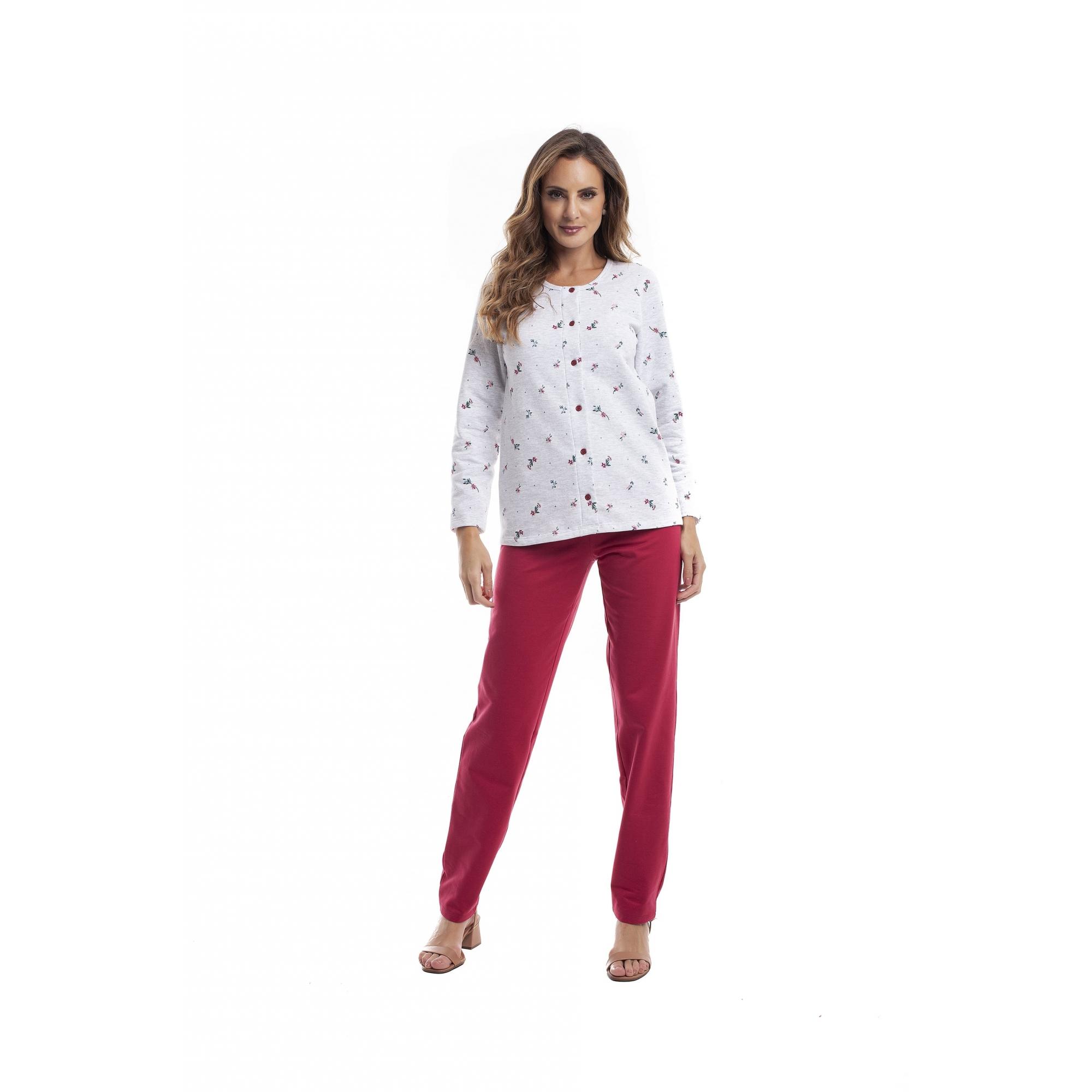 Pijama Feminino Adulto Paulienne Aberto em Algodão Flanelado Floral Vermelho 23065