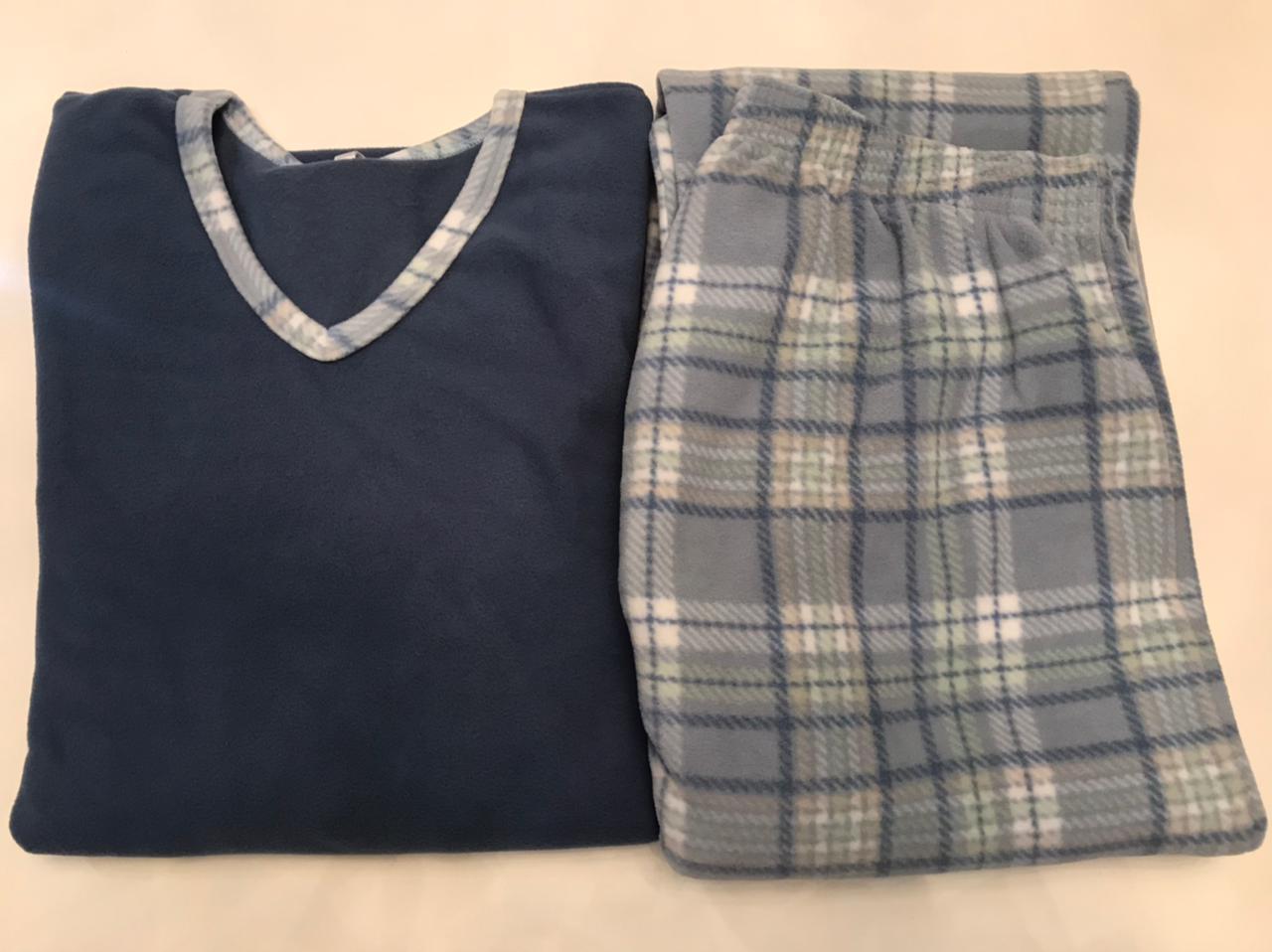 Pijama Feminino Adulto Paulienne  Azul Xadrez em Microsoft Extra quente 23365