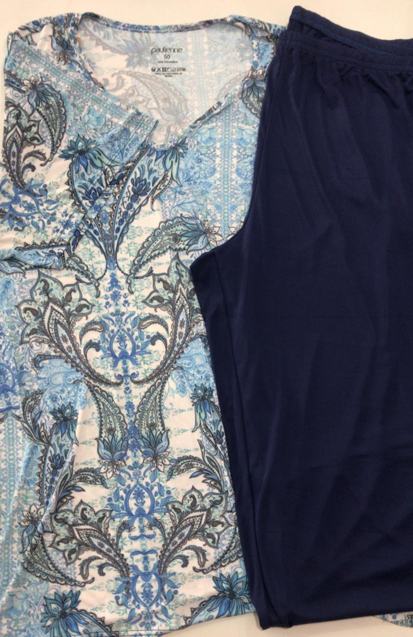 Pijama Feminino Adulto Paulienne Blusa com Calça Capri Estampa Arabescos em Liganete C07461Plus size