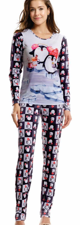 Pijama Feminino Adulto Paulienne Blusa com Calça estampa Pinguim em Soft Sublime 27762