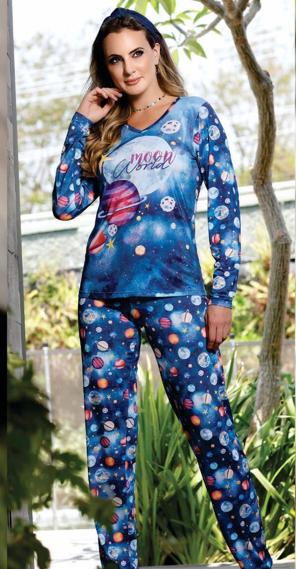 Pijama Feminino Adulto Paulienne Blusa com Calça estampa Planetas em Soft Sublime 31362