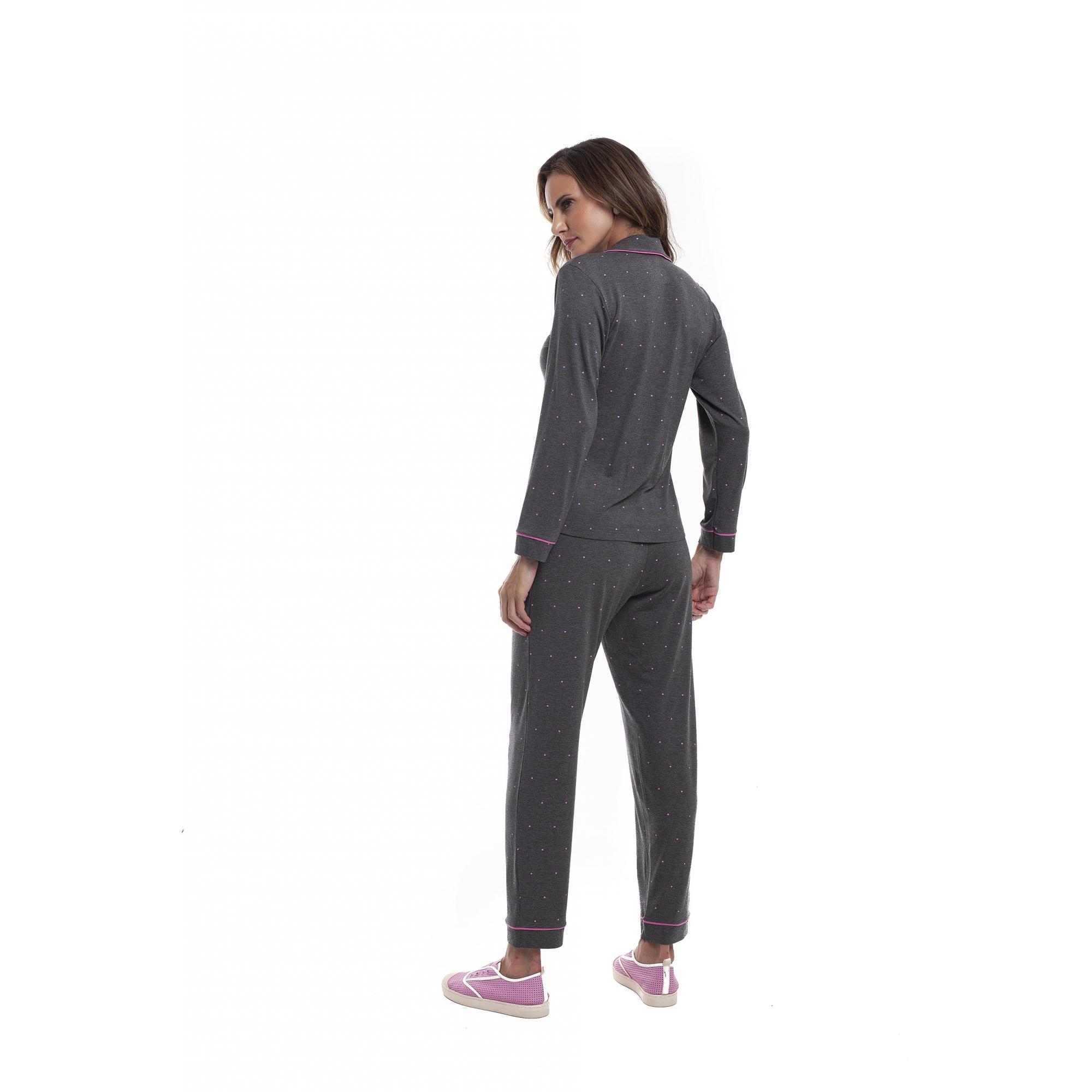 Pijama Feminino Adulto Paulienne Longo Aberto com gola Viscoflex Mescla Corações 37965