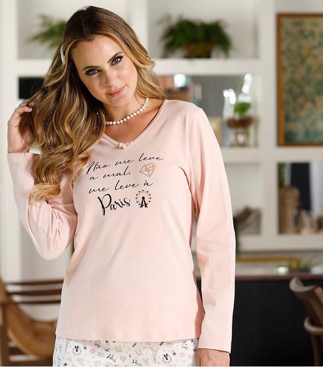 Pijama Feminino Adulto Paulienne Longo Flanelado Paris  A99 23262