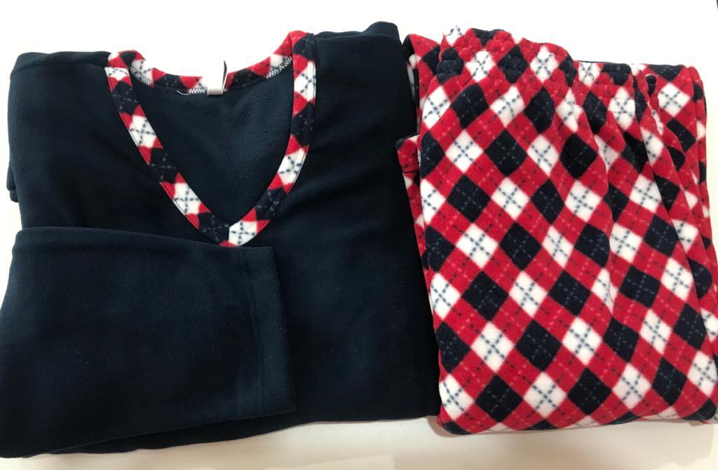Pijama Feminino Adulto Paulienne Marinho com vermelho em Soft Extra quente 23365