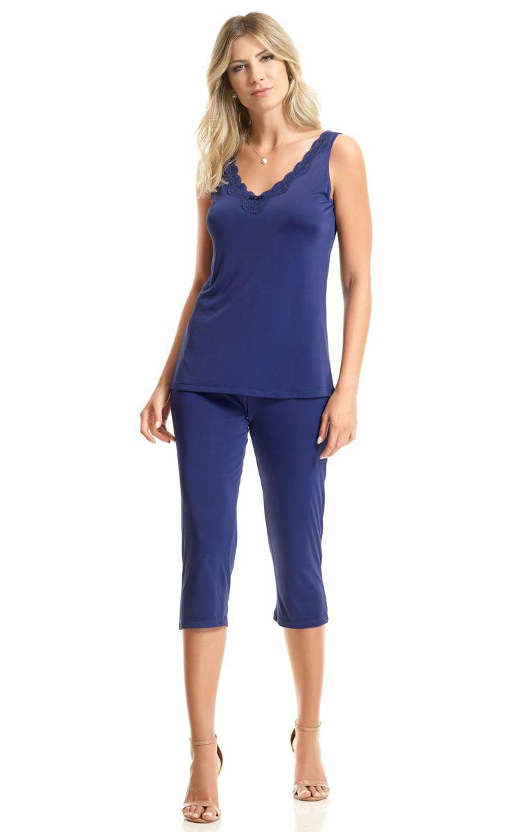 Pijama Feminino Adulto Paulienne Regata com Capri Azul Marinho