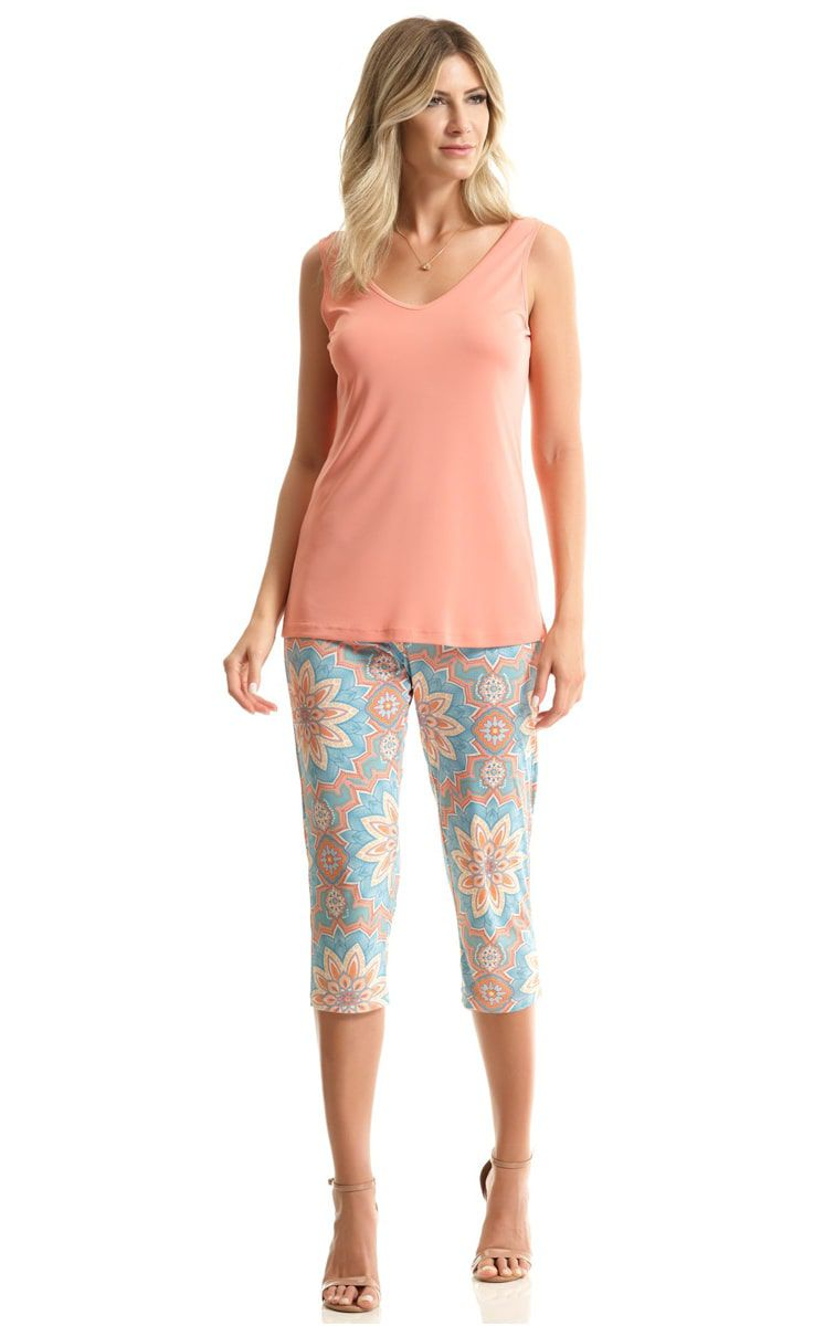 Pijama Feminino Adulto Paulienne Regata com Capri Estampa Indian