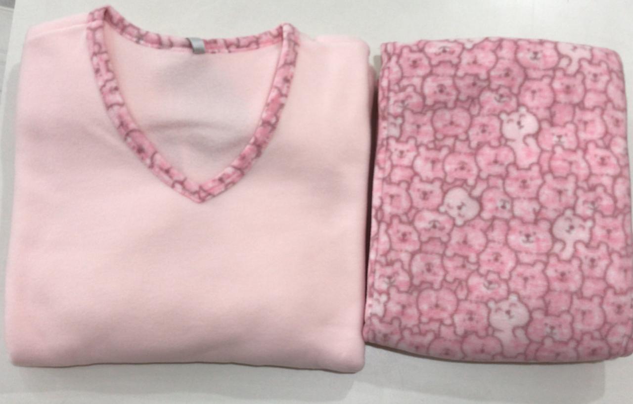 Pijama Feminino Adulto Paulienne  Rosa bebe Estampado Ursinho Encantado em Microsoft Extra quente 23365