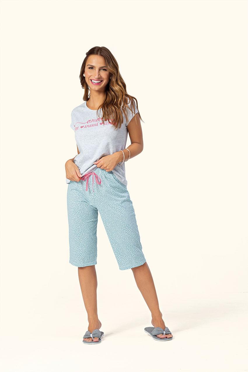 Pijama Feminino Adulto Pescador Lua Encantada em Algodão Estampado 10140012