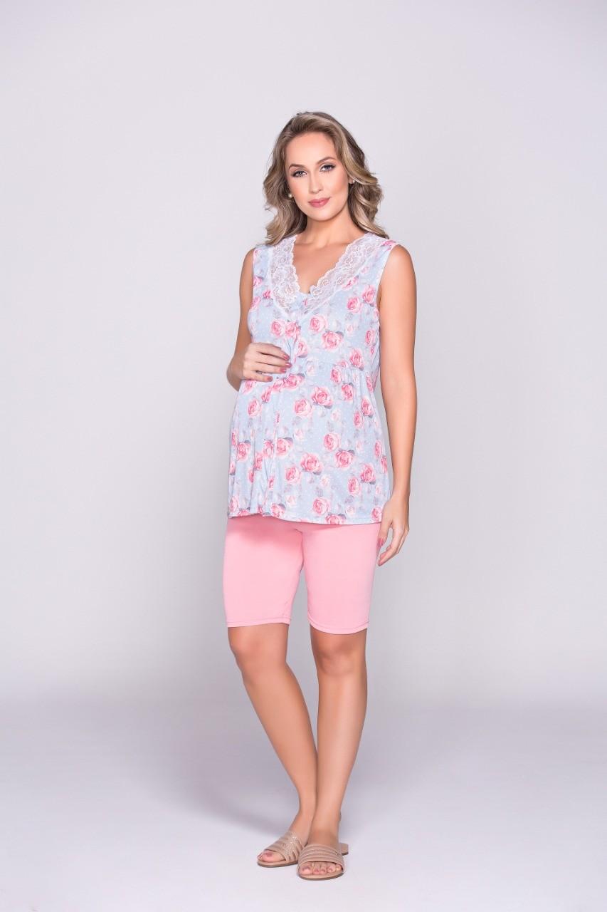 Pijama Feminino Batinha Regata Estampado em Liganete 2454