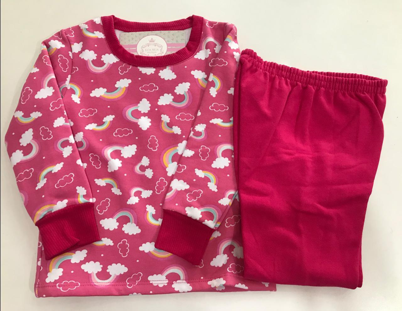 Pijama Feminino Infantil Bebe Abrange Rosa Pink com Nuvem Arco Iris em Algodão Flanelado  9039