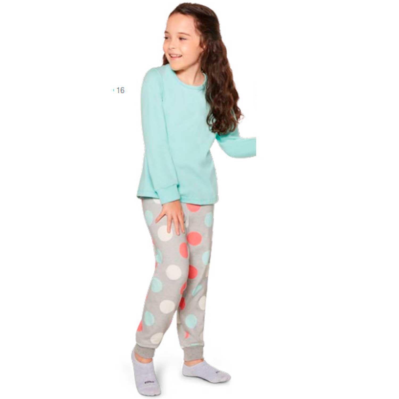 Pijama Feminino Infantil e juvenil Longo em Malha de algodão Estampa Poa 22307