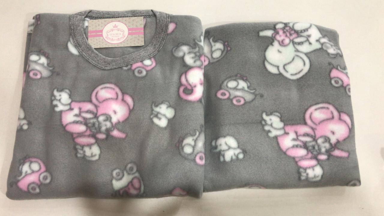 Pijama Feminino Infantil e Juvenil  Mafessoni Elefantinha Estampado em Soft Super Quente 200339