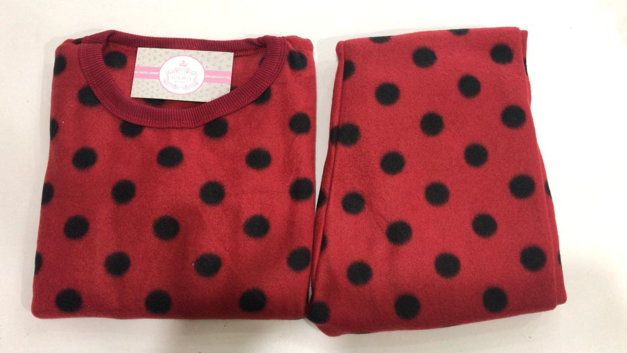 Pijama Feminino Infantil e Juvenil  Mafessoni Joaninha Estampado em Soft Super Quente 200339