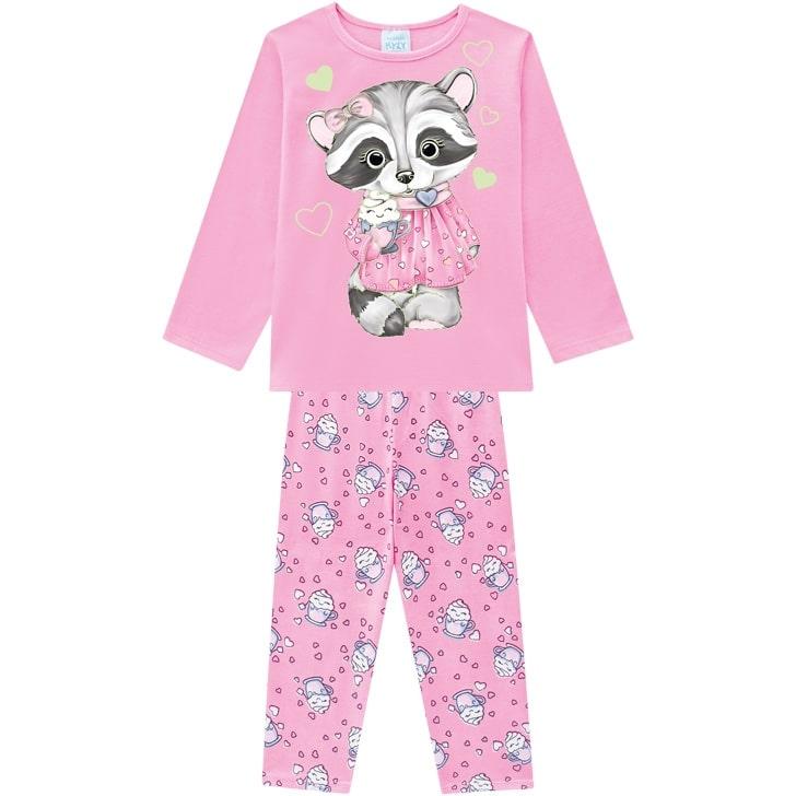 Pijama Feminino Infantil Guaxinim Rosa que Brilha no Escuro em Algodão  207526
