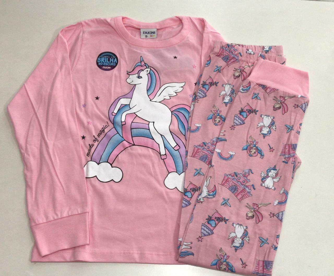 Pijama Feminino Infantil Juvenil  Fakini Manga Longa com Calça Unicórnio Rosa em Algodão que Brilha no Escuro 1124
