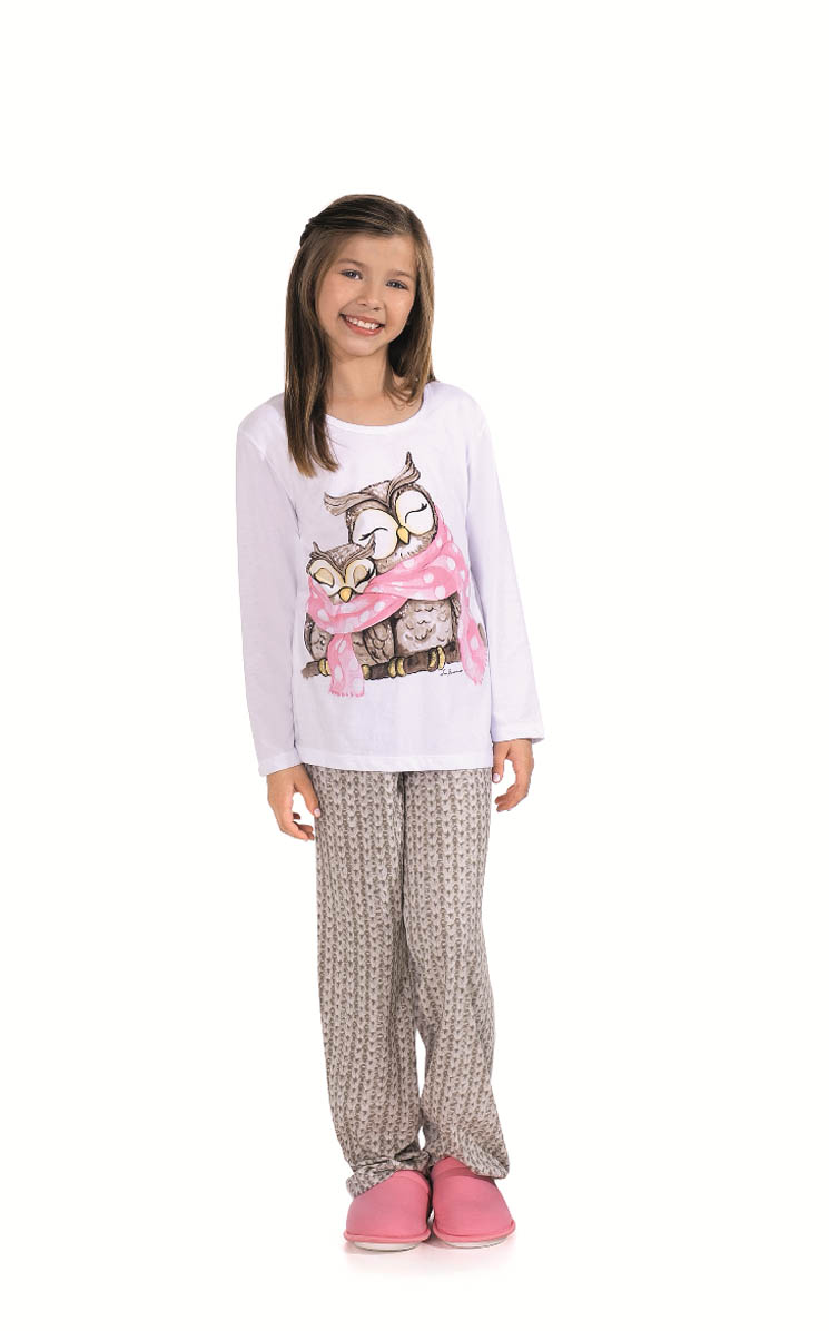 Pijama Feminino Infantil / Juvenil Lua Encantada Longo Corujinha
