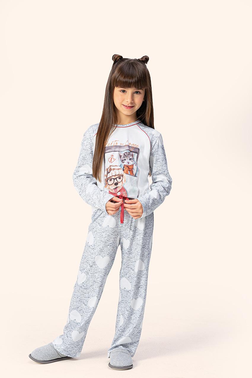 Pijama Feminino infantil Juvenil Lua Encantada Manga Longa com Calça Love em Algodão 11100052-53