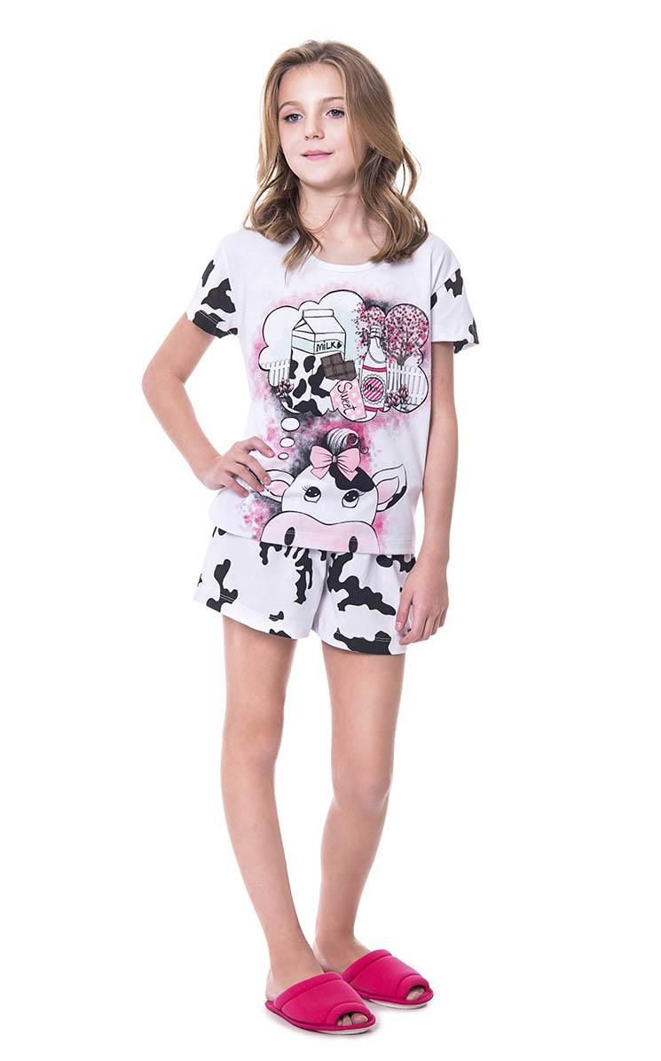 Pijama Feminino Infantil Lua Encantada Vaquinha