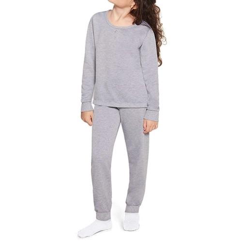 Pijama Feminino Infantil Juvenil Lupo em Algodão Flanelado Cinza Mescla 22308
