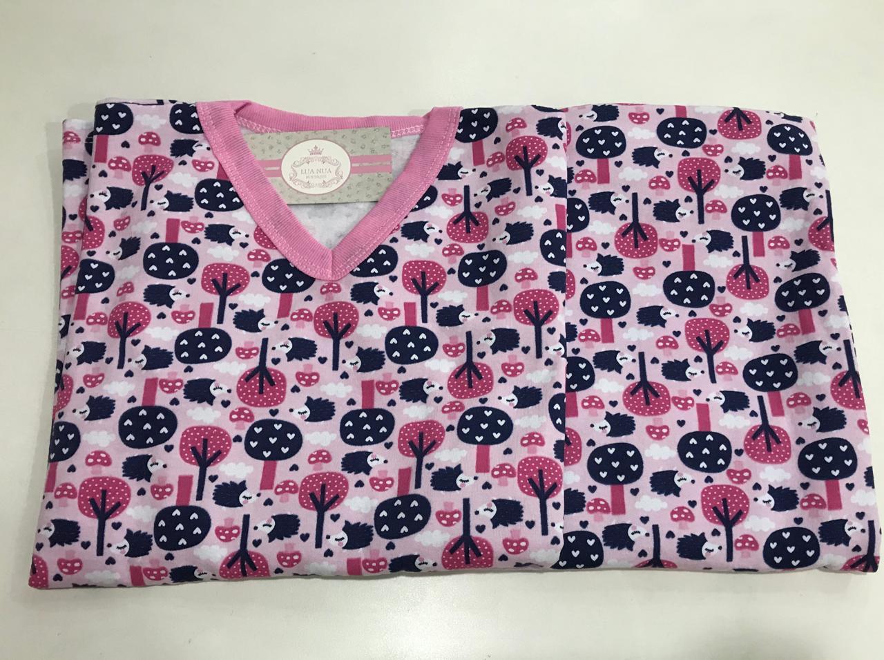 Pijama Feminino Infantil Juvenil  Mafessoni  Arvore Coração Rosa Moletinho Flanelado 200600