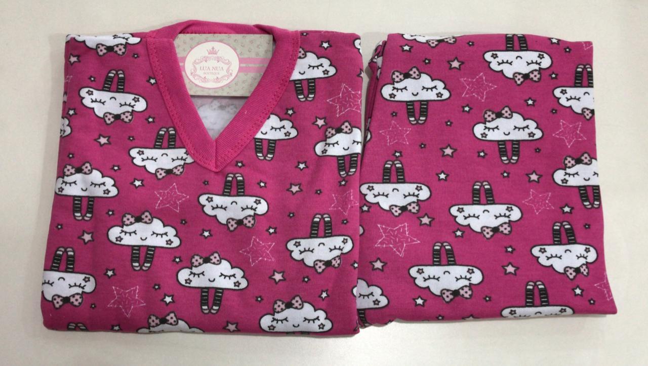 Pijama Feminino Infantil Juvenil  Mafessoni  Nuvem Rosa Moletinho Flanelado 200600