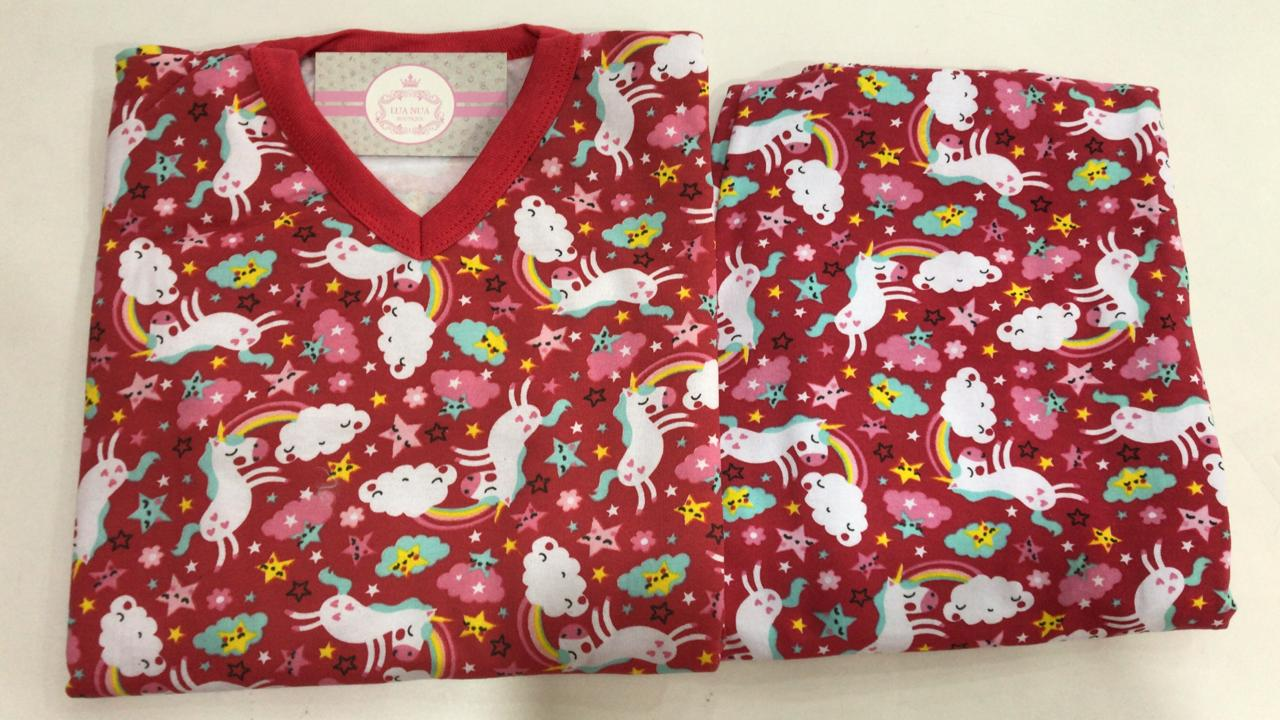 Pijama Feminino Infantil Juvenil  Mafessoni  Unicórnio Vermelho Moletinho Flanelado 200600