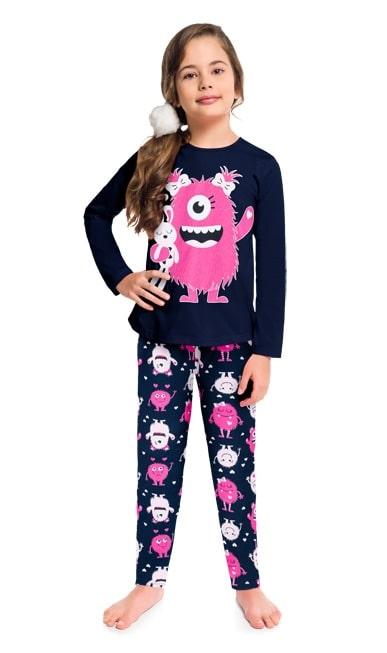 Pijama feminino Infantil Juvenil Monstrinhos Marinho e Pink que Brilha no Escuro em Moletom Flanelado 207529