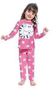 Pijama Feminino Infantil Kyly Gatinhos Pink Brilha no Escuro Anti Mosquitos 207527