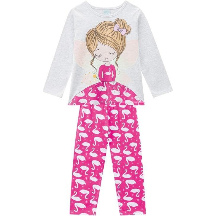 Pijama Feminino Infantil Kyly  manga longa com Calça Cisne Pink que Brilha no Escuro em Algodão 207524P