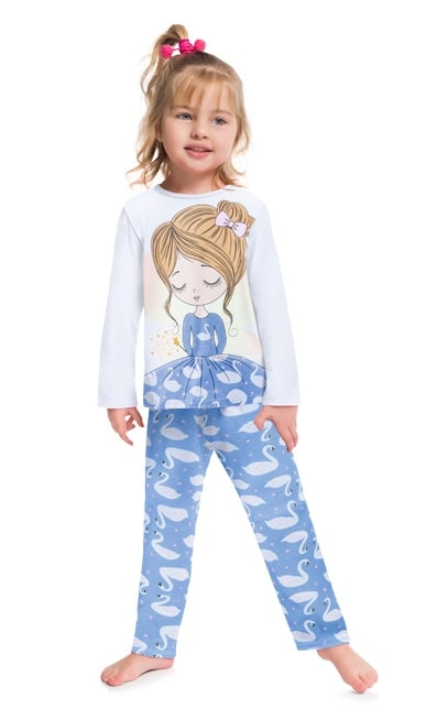 Pijama Feminino Infantil Kyly  manga longa com Calça Cisnes  Lilás que Brilha no Escuro em Algodão 207524