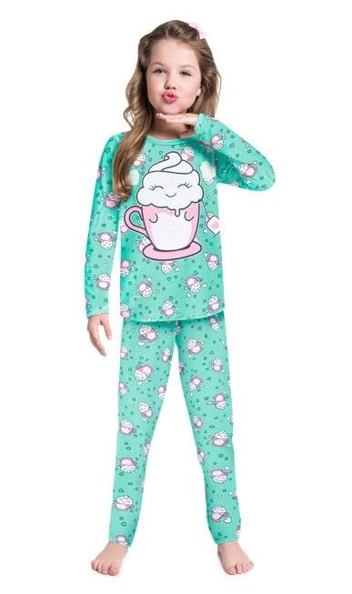 Pijama Feminino Infantil Kyly Manga Longa com Calça Verde Xicara Divertida em Algodão que brilha no escuro 207534V